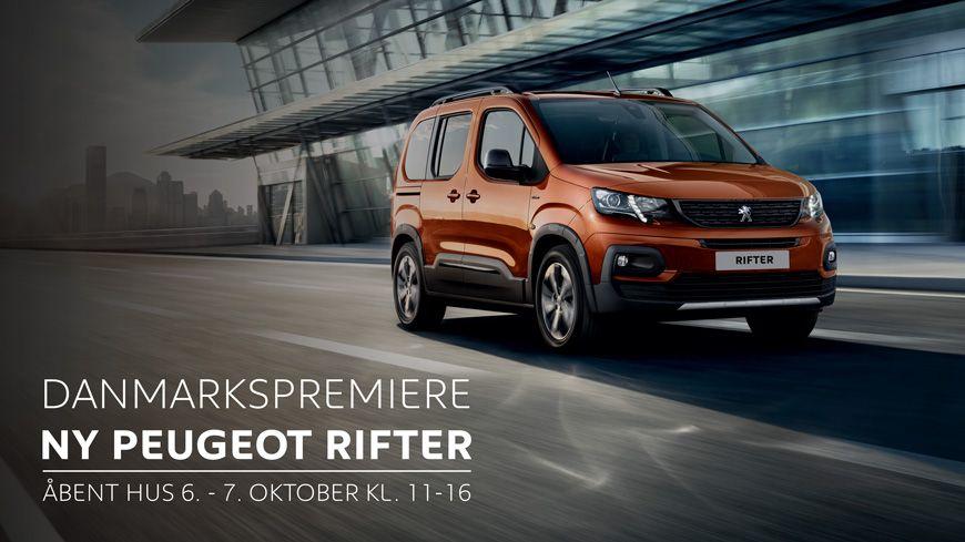 Vi Inviterer Til DANMARKSPREMIERE På Den Nye Peugeot Rifter Den 6.-7. Oktober Kl. 11-16