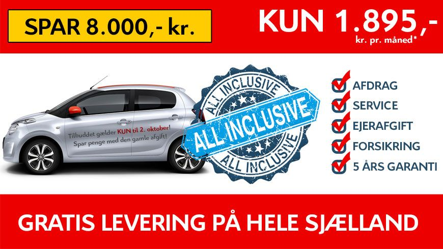 Kampagne – Citroën C1 ALL INCLUSIVE – KUN 1.895,